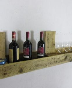 Weinregal aus Paletten, braun, Europaletten-Wandregal