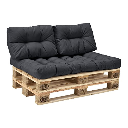 palettenkissen 3er set sitzpolster r ckenkissen dunkelgrau in outdoor. Black Bedroom Furniture Sets. Home Design Ideas