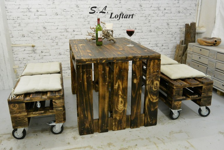 gastro set aus paletten 2 b nke mit rollen 1 tisch dunkelbraun europaletten kaufen. Black Bedroom Furniture Sets. Home Design Ideas