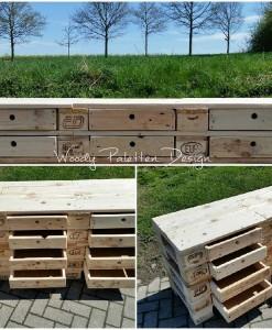 Große Palettenkommode mit Schubladen, Highboard, Sideboard