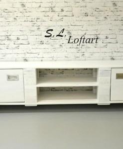 Kommode aus Europaletten, weiß, Paletten-Sideboard, vintage