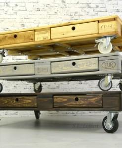 Wohnzimmertisch mit transportrollen braun steinplatte palettentisch 12 europaletten - Wohnzimmertisch dunkelbraun ...