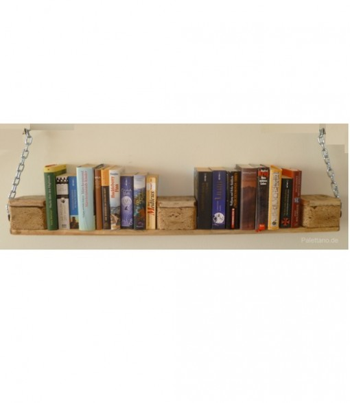 Bücherregal aus Palettenholz, natur, mit Ketten, Hängeregal aus Paletten