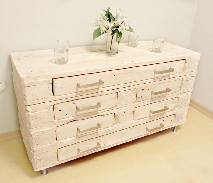 Kommode Aus Palettenholz Weiß Mit Schubladen Paletten Sideboard