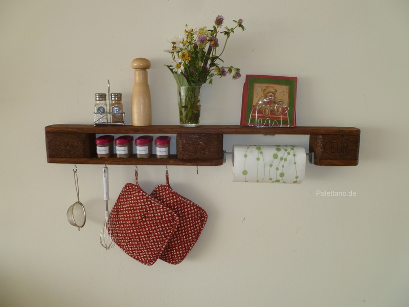 Küchenregal aus Paletten, dunkelbraun, mit Haken und ...