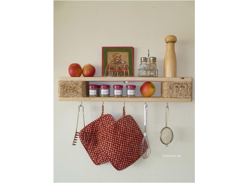 Küchenregal Aus Palettenholz, Naturfarben, Wandregal Mit Haken