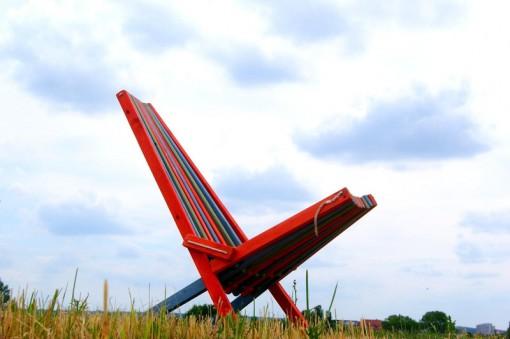 Lounge Sessel aus Paletten, Palettenstuhl, mehrfarbig