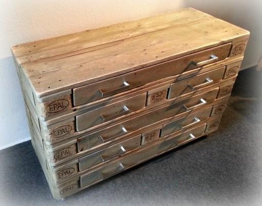 Paletten-Kommode mit Schubladen, braun, Sideboard aus Palettenholz
