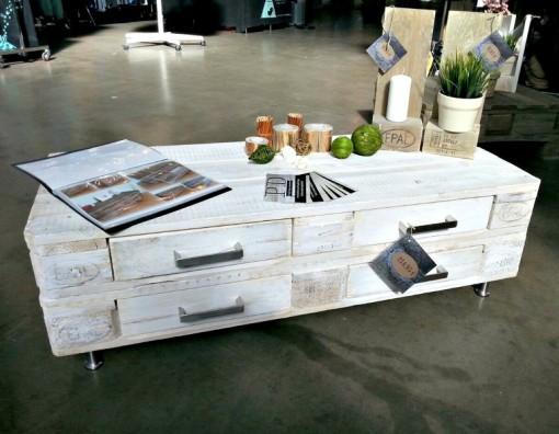 Paletten-Sideboard, weiß, mit Edelstahlfüßen, Kommode aus Europaletten