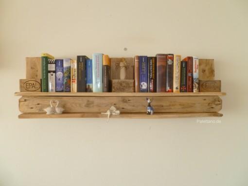 Palettenregal für Bücher, natur, braun, Wandregal