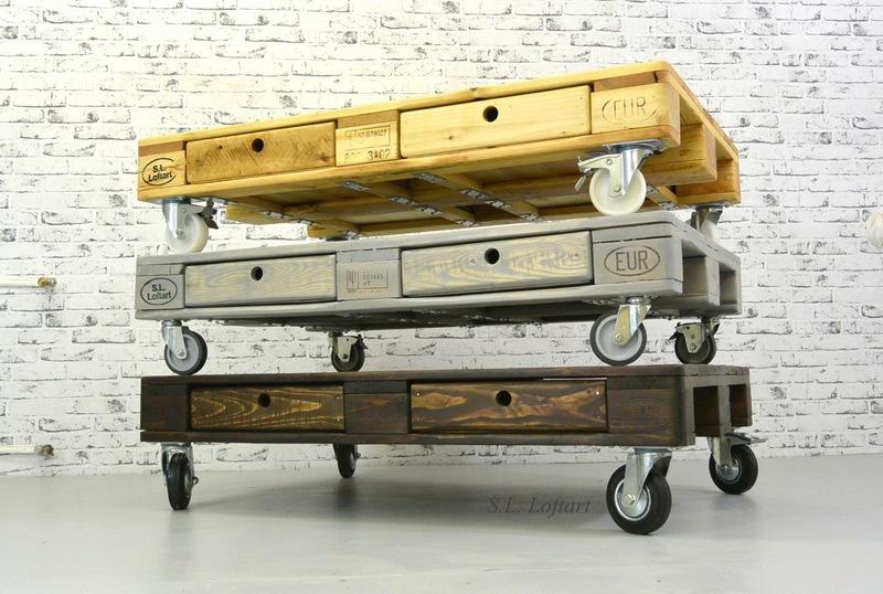 Wohnzimmertisch mit Transportrollen – natur/grau/dunkelbraun ...