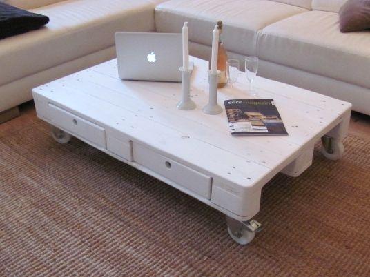 Palettentisch Tisch Aus Paletten Couchtisch Weiss Mit