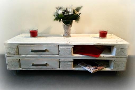 Sideboard aus Europaletten, weiß, mit Schubladen, Palettenkommode