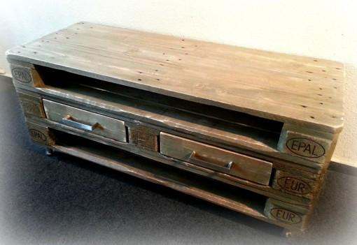 Sideboard aus Paletten, dunkelbraun, mit Schubladen, Kommode aus Europaletten